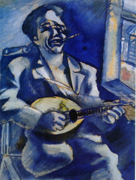 Marc-Chagall-Portrait-of-Brother-David-with-Mandolin